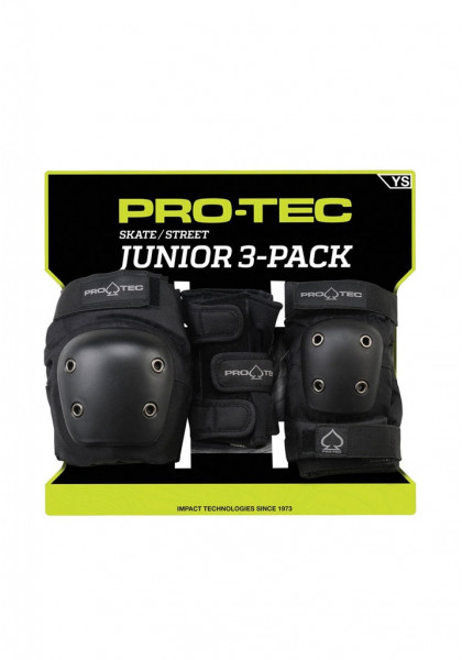 CASCHI | PROTEZIONI SKATEBOARD PRO-TEC PADS STREET GEAR JUNIOR 3 PACK BLACK YOUTH