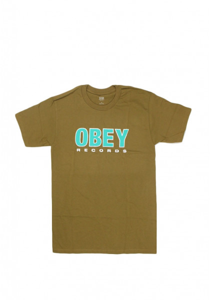 T-SHIRT MANICHE CORTE UOMO OBEY RECORDS 2 TAPENADE