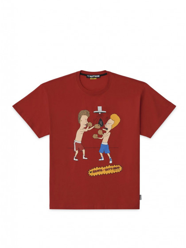 t-shirt-maniche-corte-uomo-iuter-beavies-&-butthead-knockout-tee-red