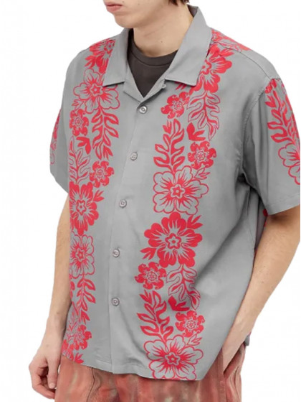 camicia-maniche-corte--uomo-stussy-hawaiian-pattern-shirt-grey