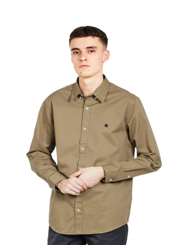 camicia-maniche-lunghe-uomo-carhartt-l/s-madison-shirt-leather-dark-navy