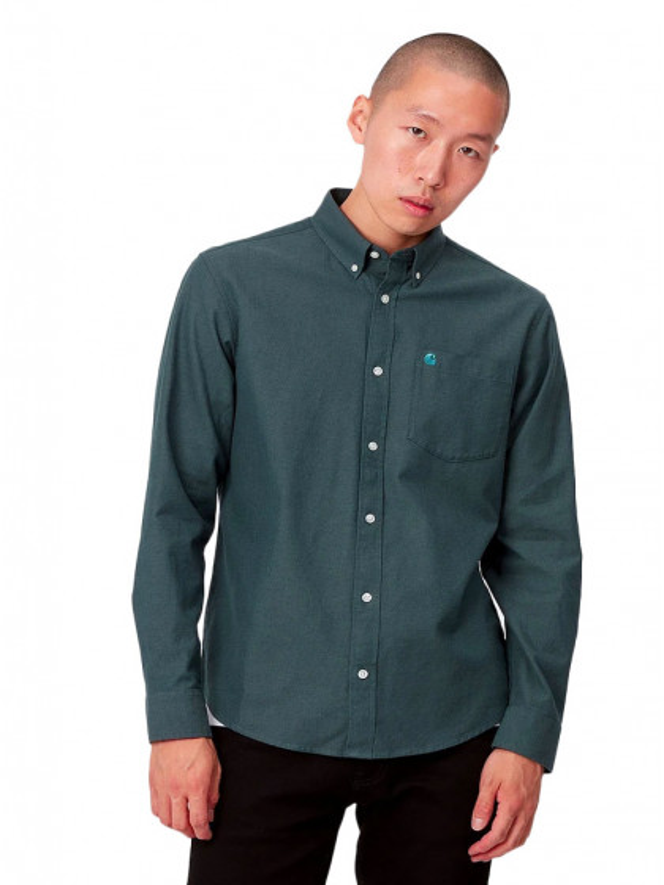 camicia-maniche-lunghe-uomo-carhartt-l/s-dalton-shirt-frasier-eucalyptus